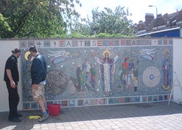 Mosaic Art installation at Saint Anselm's Catholic Church
